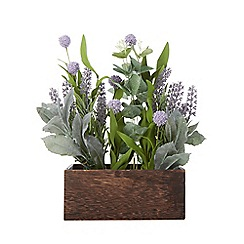 Debenhams - Artificial lavender plant in wooden trough