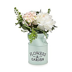 Debenhams - Pale green tin of artificial peonies and hydrangeas