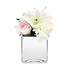 Star by Julien Macdonald - Artificial lilies and roses in a mirror cube vase