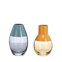Home Collection - 2 pack orange and blue bud vases
