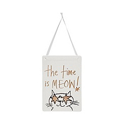 Debenhams - White ceramic 'Meow' hanging sign