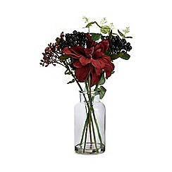 Home Collection - Artificial dahlia, berry and eucalyptus in a glass jar