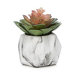 Home Collection - Ceramic marble-effect vase of artificial succulent