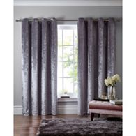 Home Collection - Silver crushed velvet eyelet curtains