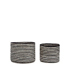 Home Collection - Set of two black stripe jute storage baskets