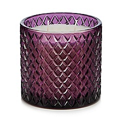 Debenhams - Large purple diamond embossed glass candle