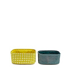 Debenhams - 2 pack yellow and green patterned storage baskets
