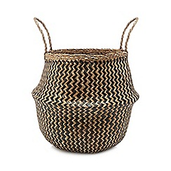 Parlane - Beige two-tone woven laundry basket