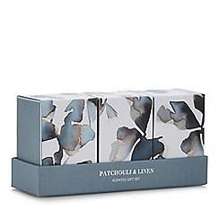 Debenhams - 3 Pack Small Patchouli & Linen Candles and Reed Diffuser