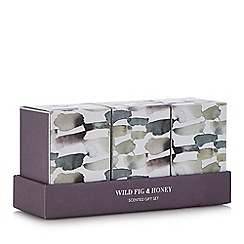 Debenhams - 3 pack small wild fig and honey candles and reed diffuser