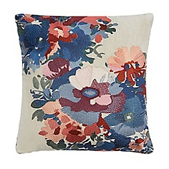 Home Collection - Multi-coloured floral embroidered cushion with linen