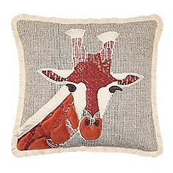 Abigail Ahern/EDITION - Natural giraffe embroidered feather filled cushion