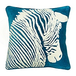 Abigail Ahern/EDITION - Dark turquoise zebra feather filled cushion