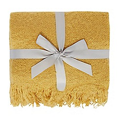Home Collection - Mustard faux mohair tassel throw