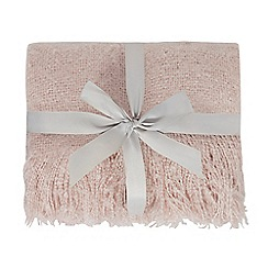 Home Collection - Pink faux mohair tassel throw
