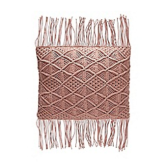 Debenhams - Pink Macramé Tassel Cushion