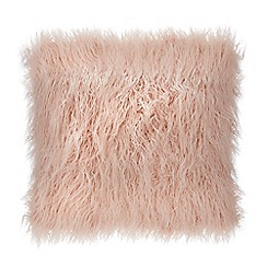 Debenhams - Pink Faux Mongolian Fur Cushion