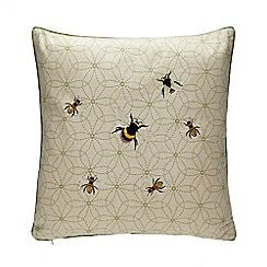 Debenhams - Green Bee Embroidered Cushion with Linen