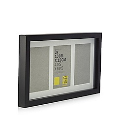 Home Collection Basics - Black three aperture wooden photo frame