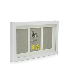 Home Collection Basics - White three aperture wooden photo frame