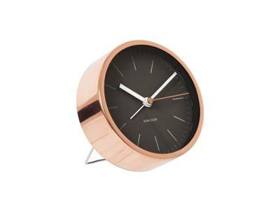 Karlsson   Minimal Black Steel Copper Plated Case Alarm Clock by Karlsson