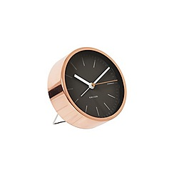 Karlsson - Minimal black steel copper plated case alarm clock