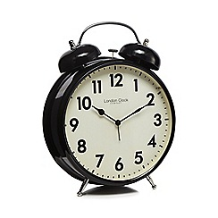 London Clock - Black large twin bell alarm clock