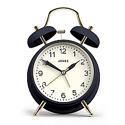 Jones - Navy and gold matte finish twin bell alarm clock