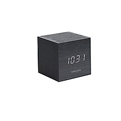 Karlsson - Mini black wooden digital alarm clock