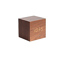 Karlsson - Brown black wooden digital alarm clock