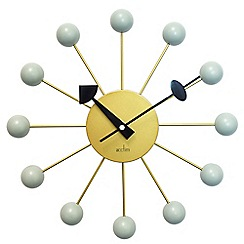 Acctim - 33cm brass and haze 'Meta' wall clock