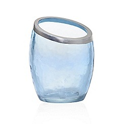 Yankee Candle - Blue glass 'Pearlescent Crackle' votive candle holder