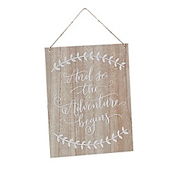 Ginger Ray - Wooden 'And So The Adventure Begins' hanging sign