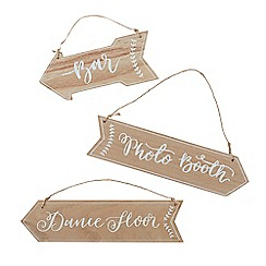 Ginger Ray - Pack of 3 wooden arrow hanging signs