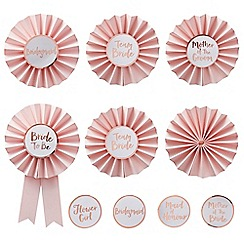 Ginger Ray - Pink and rose gold 'Team Bride' Hen Party Badges