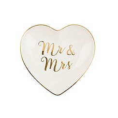 Sass & Belle - White and gold ceramic 'Mr and Mrs' trinket dish