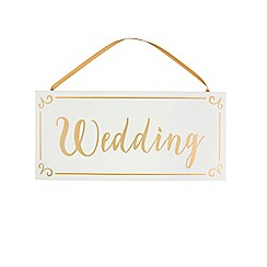 Sass & Belle - White and gold 'wedding' hanging sign