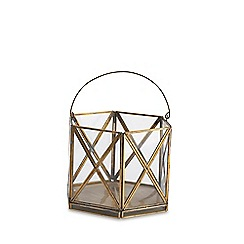 Nkuku - Small glass and antique brass 'Nema' lantern