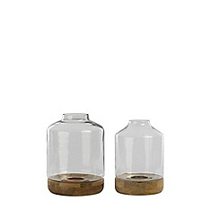 Nkuku - Small glass 'Idha' tapered hurricane lantern