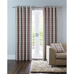 Home Collection - Natural checked eyelet curtains