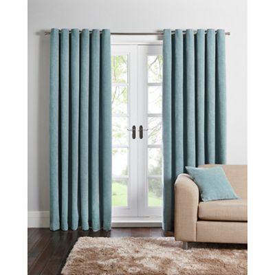 Home Collection Duck egg chenille eyelet curtains | Debenhams