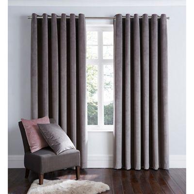 Home Collection   Dark Grey Velvet Eyelet Curtains