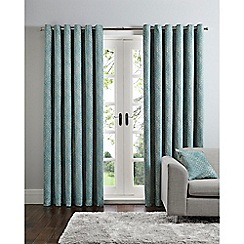 Home Collection - Ikat blue jacquard eyelet curtains