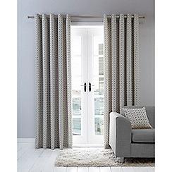 Home Collection Basics - Grey print eyelet curtains