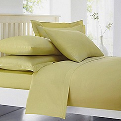 Debenhams - Light Yellow Cotton Rich Percale Fitted Sheet