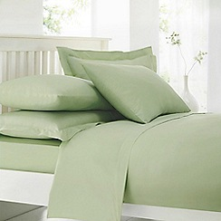 Debenhams - Pale Green Cotton Rich Percale Fitted Sheet