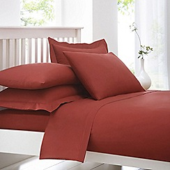 Debenhams - Brick Red Cotton Rich Percale Fitted Sheet