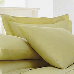 Debenhams - Light Yellow Cotton Rich Percale Pillow Case Pair