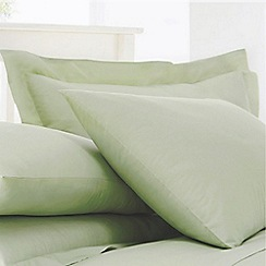 Debenhams - Pale Green Cotton Rich Percale Pillow Case Pair
