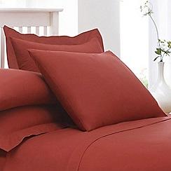 Debenhams - Brick Red Cotton Rich Percale Pillow Case Pair